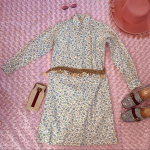 Vtg 60s RARE  Floral button Down Shirt Dress